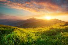 Fototapete Landschaft Berge Sonne - Kleistertapete oder Selbstklebende Tapete
