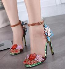 Womens Flower HIgh Heel Stilettos 11cm Open Toe Sandals Party Fashion Shoes Sz##