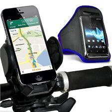 Qualità Bicicletta Manubrio Telefono Supporto + Sports Fascia Da Braccio Custodia Cover ✔ Blu