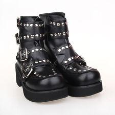 Schwarz Gothic Goth Punk Metal Rock NIETEN Damen-schuhe Stiefel Stiefeletten Neu