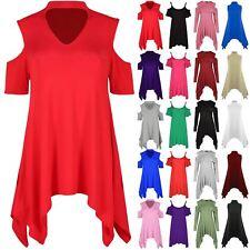 Womens Ladies Choker V Neck Cold Cut Shoulder Plain Flared Hanky Hem Dress Top