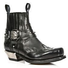 NEWROCK M.7966 S1 Black EXCLUSIVE New Rock Punk Gothic Cowboy Riding Boots Mens