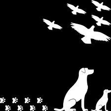 Set Alert Birds Bird Dog Pooch Puppy Deco Window Door Discs Foil Sticker