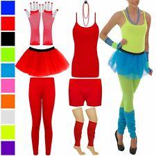 WOMENS GIRLS TUTU NEON FANCY DRESS SKIRT HOT PANT TOP BEAD GLOVE VEST LEG WARMER
