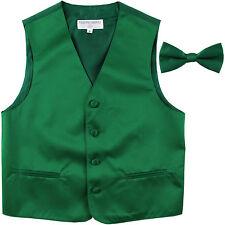 New Boy's Kid formal Tuxedo Vest Waistcoat & bowtie Emerald green US size 2-14