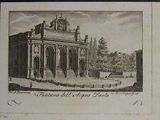 1795-ROMA-FONTANA DELL'ACQUA PAOLA-VEDUTA ORIGINALE-ENGRAVED VIEW-FRANZETTI