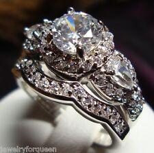 Stunning CZ Vintage Style Women Engagement Wedding Rings set Size 5 to 10