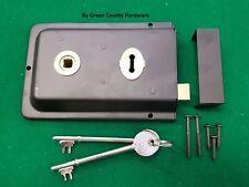 """Black 6"""" x 4"""" Victorian Style Rim Sashlock Door Sash Latch Lock + 2 Keys"""