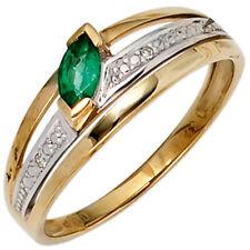 Damen Ring 585 Gold Gelbgold bicolor 1 Smaragd grün2 Diamanten 0,01ct. Goldring
