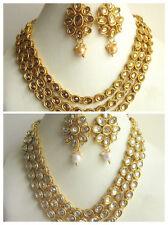 Indian Traditional Bollywood Gold Tone Kundan Bridal Wedding Fashion Jewelry Set