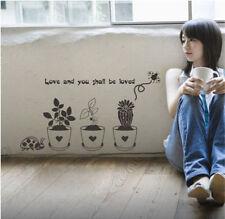 Quote Flower pot Plant Cactus Ladybird vinyl wall Sticker for bedroom shop room