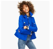 NWT $445 Designer J.CREW Italian Wool Melton Dbl-breasted Pea Coat French Blue