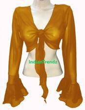 Golden Chiffon Belly Dance Tie Top  Wrap Choli Gypsy Haut Blouse Ruffle