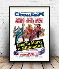 Comment épouser un millionnaire: Vintage Movie pub, poster reproduction.