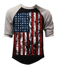 Men's Huge US Flag Black Baseball Raglan T Shirt USA American Biker S-3XL
