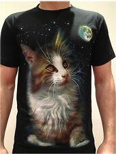 'Moon Cat' T-Shirt nera, / gatto /A rocchetto/Stampa Frontale Unisex/Maglia/