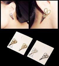 Women's 18ct White/Yellow Gold Plated 3D 'Scissor' Hairdresser Stud Earrings