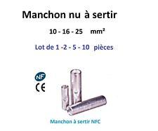Manchon à sertir type connecteur série 10 - 16 - 25 mm²  lot de 1-2-5-10 pièces