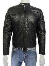 Homme en Cuir Noir 2 Zip Diamond Biker Rock Fashion Veste