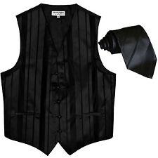 New formal men's tuxedo vest waistcoat & necktie vertical stripes black wedding