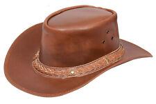 Nero Classico Stile Western Cowboy Cappello Di Pelle Australiano Stile Cappello UK STOCK