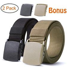 2pcs Nylon Military Men Belt Webbing Canvas Outdoor Web Belt with Plastic Buckle
