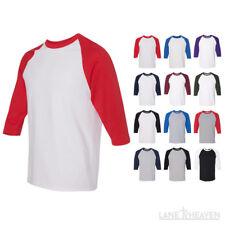 New! Raglan 3/4 Sleeve Baseball Mens Plain Tee Jersey Team Sports S-3XL T-Shirt