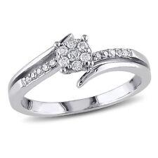 Amour 10k White Gold 1/5 Ct TDW Diamond Cluster Promise Ring H-I I2-I3