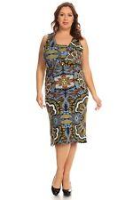 Womens 1X,2X,3X,4X(16W-22W) Turquoise Multi Sleeveless Sheath Mid-Calf Dress!