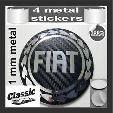 METAL STICKERS WHEELS CENTER CAPS Centro LLantas 4pcs Classic FIAT 18 Carbon