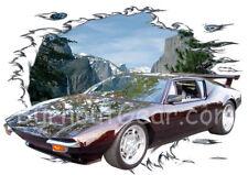 1972 Black Pantera Custom Hot Rod Mountain T-Shirt 72 Muscle Car Tee's