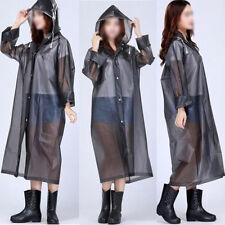 Fashion Women Hooded Transparent PVC Raincoat Waterproof Poncho Long Sleeve Coat