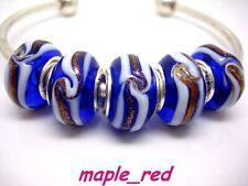 Fashion Royal Blue Spiral European Style Lampwork Glass Beads fit Charm Bracelet