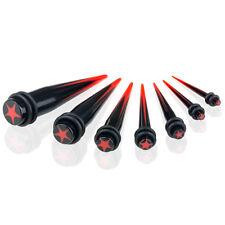 Expander Dehnstab Piercing Taper Schwarz 3mm - 12mm / Set - 6er / 7er Stern Rot