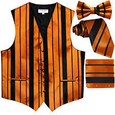 New Men's stripes Tuxedo Vest Waistcoat & necktie & Bow tie & Hankie Black Gold