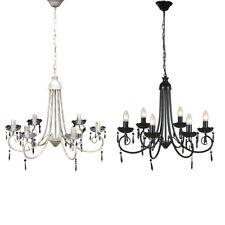 Modern Crystal Chandelier Ceiling Light 6 Lamp Pendant Light Fixture White/Black