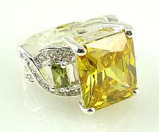 Elegant Women Princess Cut 2.85ct Citrine 925 Silver Wedding Ring Size 6-10