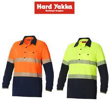 Mens Hard Yakka Koolgear Hi-Vis 2 Tone Vented Tape Long Sleeve Work Shirt Y11379