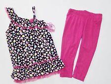 Girls 4-6X Pink Black Multi Animal Cheetah Chiffon Top Legging Summer Outfit Set