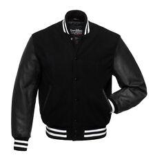 Stewart & Strauss Premium Black Wool & Leather w/ White Varsity Bomber Jacket