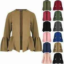 Womens Blazer Bell Sleeve Casual Ladies Front Open Collared Blazer Coat Jacket