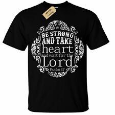 Kids Boys Girls Be Strong Take Heart T-Shirt psalm 27 bible christian lord