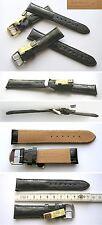 NEU ECHTES KROKODIL LEDERUHRENARMBAND Made in Germany 20 mm Schwarz Echt Kroko !