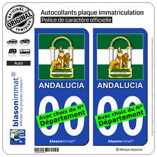 2 Autocollants plaque immatriculation Auto : Andalousie - Armoiries Drapées