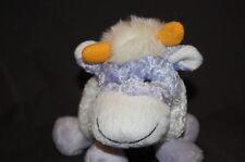 "PURPLE WHITE COW PURSE HANDBAG ZIPPER 8"" KUDDLE ME TOYS Plush Stuffed Animal TOY"