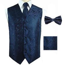 Navy Blue Paisley Tuxedo Dress Vest Waistcoat & Neck tie & Bowtie And Hanky Set