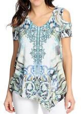 NEW One World Print Woven Bell Sleeved Sheer Overlay V-Neck Top