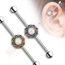 14G 38mm Opal Filigree Industrial Barbell Ear Ring Body Piercing Jewellery