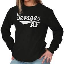 Savage AF Funny Shirt | Cool Supreme Gift Idea Sarcastic Lit Long Sleeve Tee