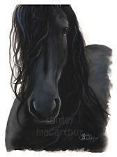 """Cavallo Frisone Nero stampa dipinto originale di """"COSI 'VICINI"""" da Shirley M"""
